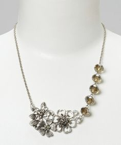 Silver & Black Crystal Flower Necklace | Daily deals for moms, babies and kids
