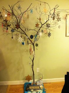 The snowflake tree I put up every winter.  I collect snowflake ornaments and then hang them on a new tree from the woods each year.  My dad made me a base for it.