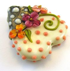 Passionfruit Valentine's Heart Focal Bead by chestnutridgedesigns, $20.00