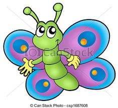 Stock Illustration - Small cartoon butterfly - stock illustration, royalty free illustrations, stock clip art icon, stock clipart icons, logo, line art, pictures, graphic, graphics, drawing, drawings, artwork