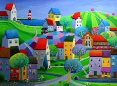 Paintings and illustrations by Iwona Lifsches. Art presentation and sale of original paintings and other art products. Art And Illustration, Illustrations, City Art, Tole Painting, Painting & Drawing, Am Meer, Naive Art, Art Studies, Pictures To Paint