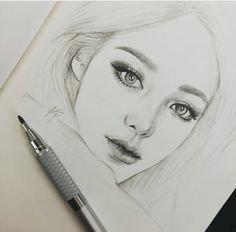 Drawing Pencil Portraits - Pencil sketch of girl Discover The Secrets Of Drawing Realistic Pencil Portraits Sketchbook Drawings, Pencil Art Drawings, Drawing Sketches, Sketching, Portrait Sketches, Pencil Portrait, Portrait Art, Face Sketch, Girl Sketch