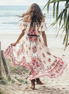 """Boho Off The Shoulder Maxi Dress """"Hotel Paradiso"""" Red Peacock Print Gypsy Gown Sizes Small Medium Or Large"""
