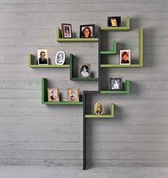 Green wall mounted shelving