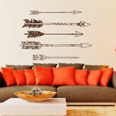 Tribal Arrow Wall Decal Vinyl Stickers- Navaho Arrow Wall Decor- Simple Indie Arrow Wall Art- Tribal Wall Art Bedroom Dorm Living Room Approximate
