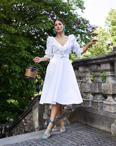Statement Earrings Outfit, Big Earrings, Cute Summer Outfits, Cute Outfits, White Dress Summer, Summer Dresses, Business Dresses, Colourful Outfits, Buy Dress