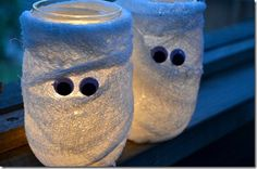 Mason Jar Mummy Votives - Mason Jar Fall Crafts