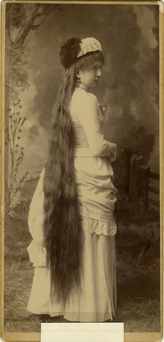 ca. 1860-90, [carte de visite portrait of a woman with impressively long hair]  via Jeffrey Kraus, Antique Photographics