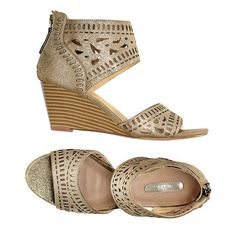 Gladiator sandals that you can wear all day! Gladiator wedge with cutout designs on the toe and on the ankle• Back zipper for easy on/off• logo on gold patent• Open toe Made in China. Avon Fashion, Fashion Online, Avon Mark, Sneaker Heels, Brown Heels, Flats, Shoes Sandals, Shoes Online, Piercing