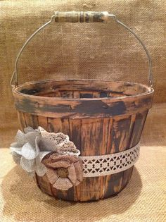Distressed dark gray flower girl basket/ rustic by HankandJean, $27.00