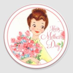 Pretty Floral Wreath Happy Mother's Day Classic Round Sticker   Zazzle.com Mothers Day Images, Mothers Day Crafts, Happy Mothers Day, Vintage Cards, Vintage Images, Collages, Mothers Day Classic, Celebration Love, Mother Day Wishes