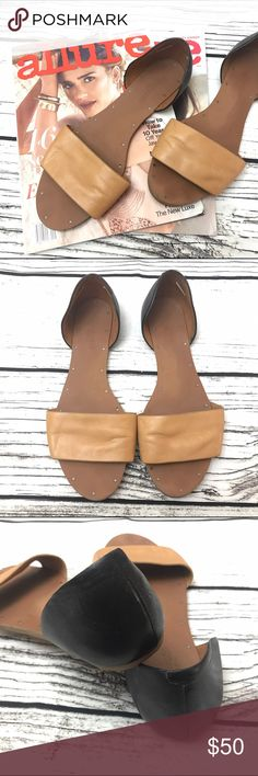MADEWELL Thea Sandal Flat Tan Black MADEWELL Thea Sandal Flat Tan Black size 8.5. Worn a handful of times. Good condition! Minor wear to sole and leather. See pics. Madewell Shoes Sandals