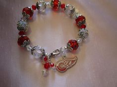 Detroit Red Wings Bracelet by LaBoudoirBoutique on Etsy, $25.00
