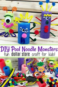 dollar stores Your kids will LOVE this DIY Pool Noodle Monsters Dollar Store Craft! All of the supplies are available at the dollar store! Kids Crafts, Halloween Crafts For Kids, Craft Activities For Kids, Crafts For Teens, Preschool Crafts, Diy Crafts To Sell, Craft Projects, Party Crafts, Classroom Crafts