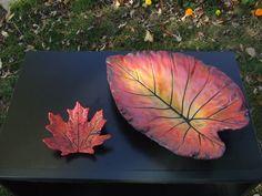 Fall colored concrete leaves