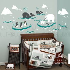 Nursery, baby, kids, Wonderful Arctic, iceberg, polar bear, whale, Penguin…