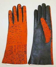"""Gloves from the house of Mark Cross (get it?) (American, 1845-1997) Designed by Gerald Murphy Gerald and Sara Murphy were well known """"X""""-pats from America living in Europe during the 1920s. Gerald's dad had started the Mark Cross company, and Sara came from a family of great wealth as well."""