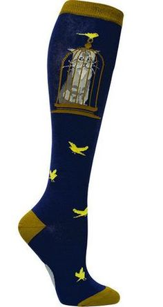 Cat in the Bird Cage Crazy Animal Knee High Socks for Women