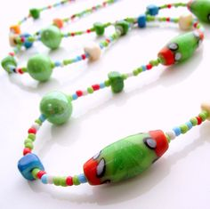 Green beaded necklace  colorful beaded necklace  by jinjajewellery, £10.00