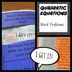 Debugging word problems that use quadratic equations.  Great reminder for students on approaching word problems.
