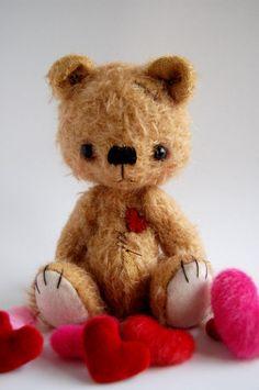 *POLYMER CLAY (mohair covered, glass eyes) ~ Artist  bear Poppy By Nathalie s bears