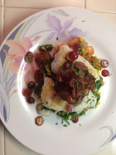 Pan-Seared Cod with Pickled Grapes and Summer Succotash by BlueApron
