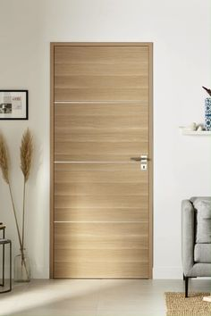 Full NUANCE door - Our Nuance Pleine oak door brings a natural charm to your space: its invisible hinges add a touch o - Flush Door Design, Home Door Design, Bedroom Door Design, Door Design Interior, Main Door Design, Interior Modern, House Design, Scandinavian Interior Doors, Oak Doors