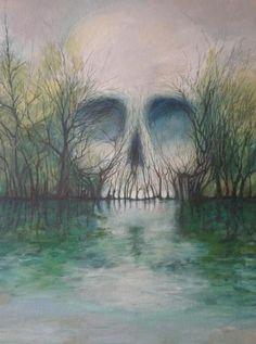 Illustration art painting alchemy W. Illusion Paintings, Illusion Art, Fond Design, Skull Pictures, Bild Tattoos, Skull Artwork, Skeleton Art, Skull Tattoos, Skull And Bones