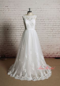 High Quality Lace Bridal Gown Bateau Neck Wedding by LaceBridal