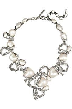 Crystal and faux pearl necklace by Oscar de la Renta
