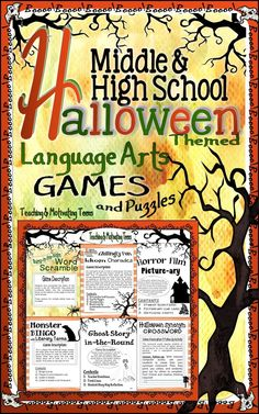 "Halloween Games & Puzzles - Fun Middle & Secondary CCSS English Language Arts. Treat your middle and high school students with six Halloween-themed games and puzzles - charades, ""picture-ary,"" a crossword puzzle, bingo, word scramble, and ghost story in-the-round. Use these games sporadically throughout the month of October, for one game-day in stations, or however you choose. Played in partners, in small groups, or as a class. Fun, creative, CCSS based."