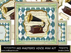 His Masters Voice Mini Kit by Sandra Carlse A great 'Music' themed decoupage Topper Mini Kit. Kit includes the following: Sheet 1 Main…