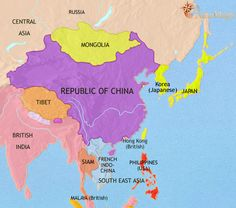 history map of East Asia: China, Korea, Japan 1914AD