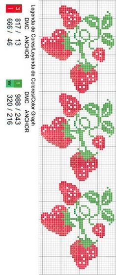 Discover thousands of images about Alira Silva Cross Stitch Fruit, Cross Stitch Kitchen, Cross Stitch Bookmarks, Cross Stitch Heart, Cross Stitch Borders, Cross Stitch Flowers, Cross Stitch Designs, Cross Stitching, Cross Stitch Embroidery