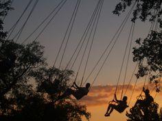 Sunset swingers on Yo-Yo ride Amusement Park, Roller Coaster, Gatsby, Sunset, Beautiful, Yo Yo, Roller Coasters, Sunsets