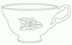 vintage tea cup digital stamp