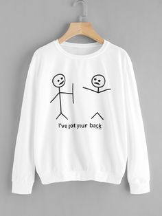 SheIn offers Graphic Print Sweatshirt & more to fit your fashionable needs. SheIn offers Graphic Print Sweatshirt & more to fit your fashionable needs. Cute Sweatshirts, Sweatshirts Online, Printed Sweatshirts, Hoodies, Diy Mode, Funny Outfits, Direct To Garment Printer, Look Cool, Sweater Weather