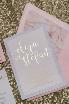 CHELSEA Suite Fancy Romantic Package, rose quartz, serenity, marble, gold foil wedding invitation