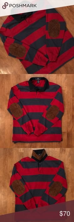 Vineyard Vines Red and Blue Striped Rugby Medium Vineyard Vines red and blue striped rugby shirt, size medium. Leather elbow patches and leather under collar. My son wore this once, maybe twice. In excellent, nearly new condition! Price is firm unless bundled with another item. No trades, thanks. Vineyard Vines Shirts
