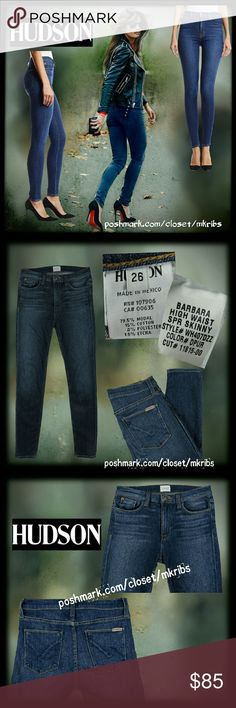 ♥ Hudson Barbara high waist skinny jeans 26 Fashion forward and oh so sexy.. Hudson 'Barbara' Hugh waist skinny stretch jeans in 'downpour'.  Super soft with lots of stretch while still retaining shape with wear. More details in photos above. All photos of jeans (unmodeled) are of actual jean for sale. EXCELLENT CONDITION! NO TRADES PLEASE! REASONABLE OFFERS WELCOME THROUGH OFFER FEATURE ONLY PLEASE! Hudson Jeans Jeans Skinny