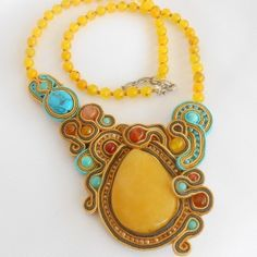 Soutache Necklace with Yellow Jade