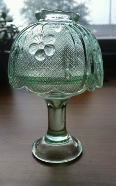 Clear,  Mint Green, Glass Fairy Lamp