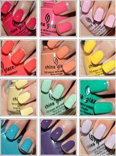 i love pastel and bright nail polish