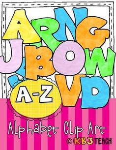 Clip Art Alphabet Letters (26 png images).  Use these colorful letters to make bulletin board headers, schedule cards, bin labels, and word wall labels and game pieces.