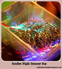 Play and Learn Everyday: Bonfire Night Sensory Box Bonfire Crafts For Kids, Bonfire Night Activities, Bonfire Night Crafts, Thanksgiving Crafts For Kids, Autumn Activities, Sensory Activities, Kids Crafts, Baby Sensory