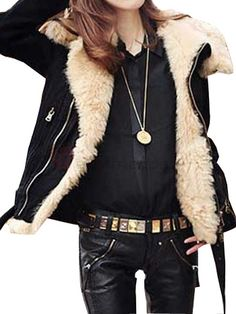 Leisure Thicken Warming Wide Fur Collar Slanting Front Zip Trench Coat Black on buytrends.com