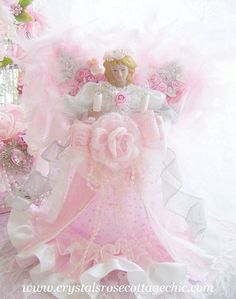Shabby Chic Pink Angel Tree Topper Victorian Christmas Romantic Rose. $39.99, via Etsy.