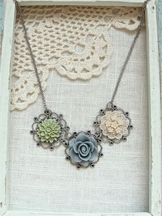 Antique silver shabby chic flower necklace  Sage by sweetsimple, $24.00