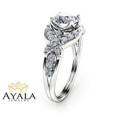 14K White Gold Diamond Engagement Ring Round Cut por AyalaDiamonds