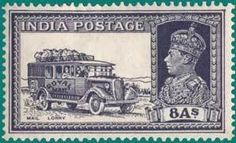 Stamp: King George VI and Views- Mail lorry (India) (King George VI - Definitives (1937-40)) Mi:IN 156,Sn:IN 160,Yt:IN-GB 153,Sg:IN 257